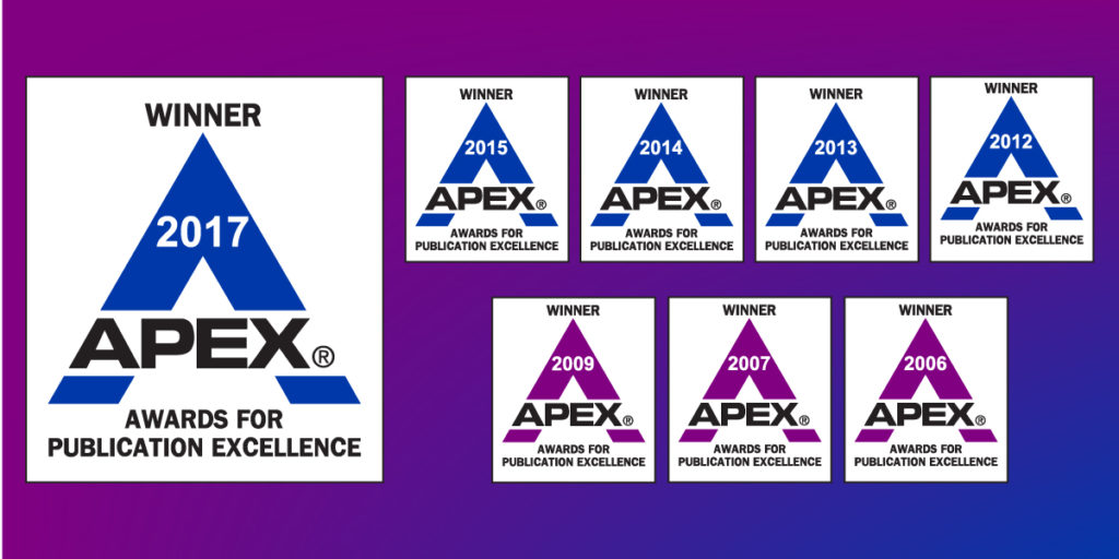 ProEdit's APEX Awards from 2017, 2015, 2014, 2013, 2012, 2009, 2007 (2x), and 2006 (2x)