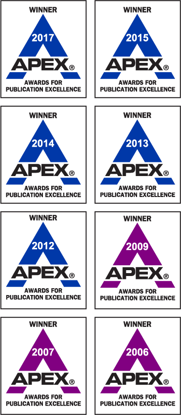 ProEdit's APEX Awards from 2017, 2015, 2014, 2013, 2012, 2009, 2007, and 2006
