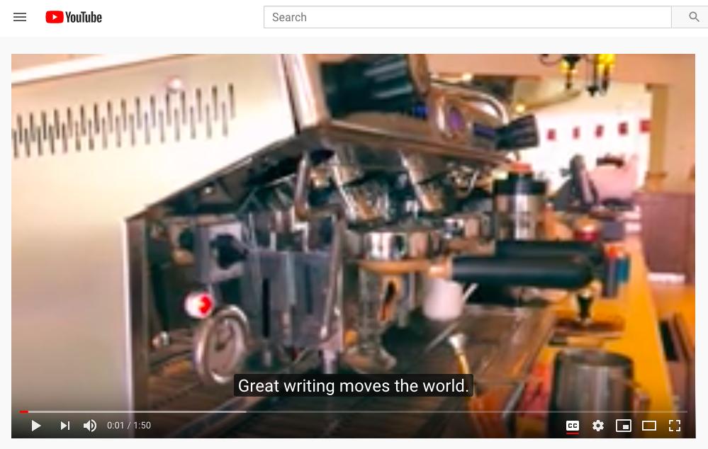 YouTube captioning accessibility example