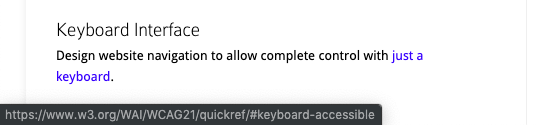 Keyboard navigation using the tab key in Chrome with a URL preview for accessibility